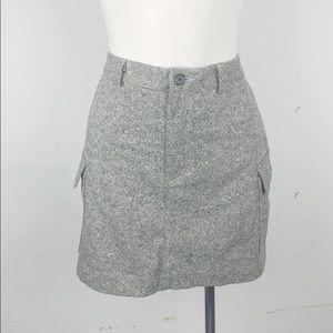 J. Crew Black and White Wool Tweed Cargo Skirt
